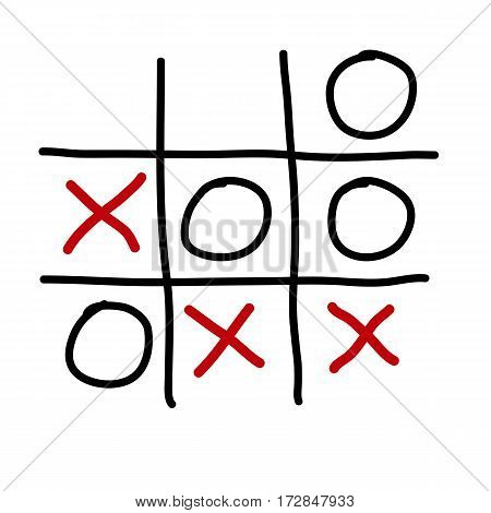 tic tac toe xo game on isolated white vector illustration