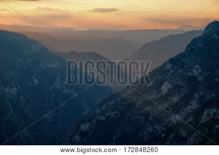 twilight on canyon of Tara River In Durmitor National Park, Montenegro