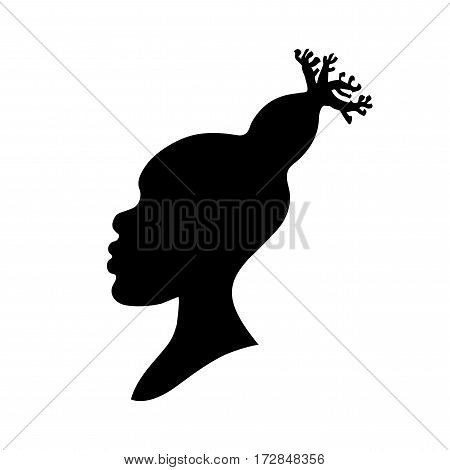Vector illustration of african american woman head silhouette with baobab hairstyle