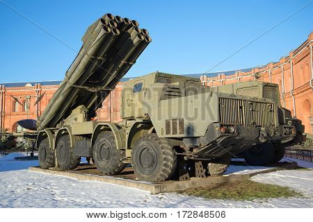 SAINT PETERSBURG RUSSIA - JANUARY 20 2017: Fighting vehicle reactive volley-fire systems 9A52