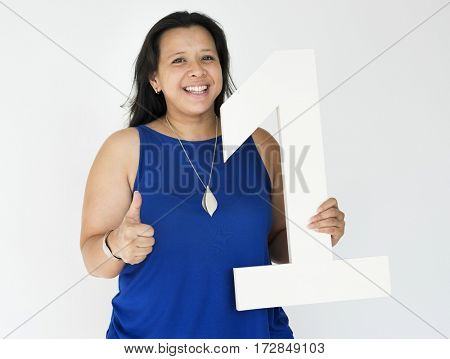 Woman Hold Number One First Winner
