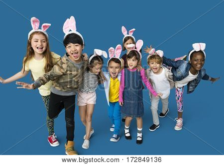 Happiness group of cute and adorable children with bunny headband