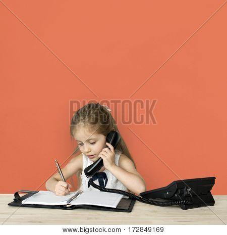 Little Girl Working Business Woman