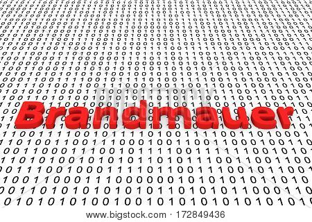 brandmauer in the form of binary code, 3D illustration