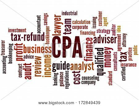 Cpa - Certified Public Accountant, Word Cloud Concept