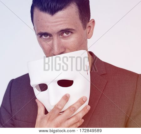Man Hand Hold Mask Studio Portrait