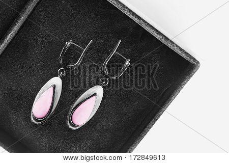 Vintage silver earrings with pink enamel in black jewel box
