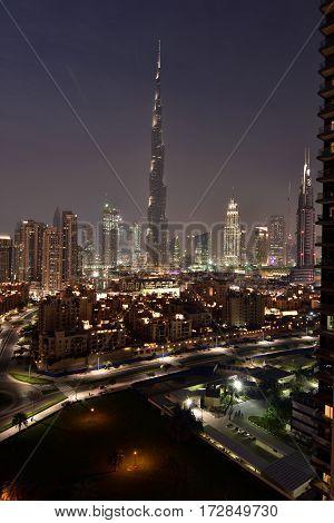 Dubai Skyline at night from South ridge in Business Bay, Dubai, United Arab Emirates