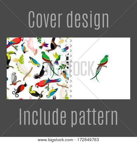 Cover design for print with parrot birds pattern. Vector illustration