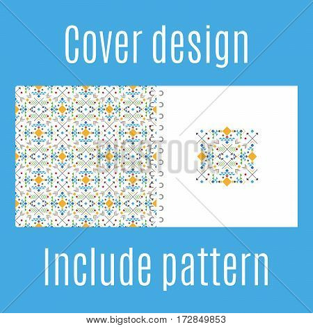 Cover design for print with tribal geometric pattern. Vector illustration