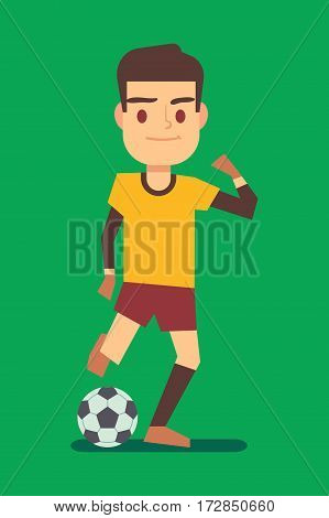 Soccer player kicking ball on green field vector illustration. Football player with ball