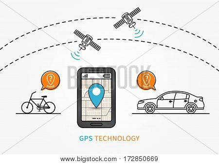 Car and bicycle GPS search vector illustration. Navigation technology for automobile or bike creative concept. GPS satellites help to find car and bicycle graphic design.