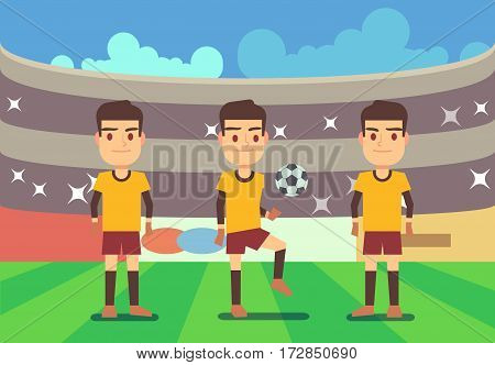 Football, soccer players vector illustration. Championship and play game