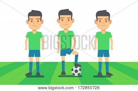 Three soccer players on green field vector illustration. Sport team player