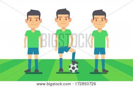 Three soccer players on green field vector illustration. Sport team player