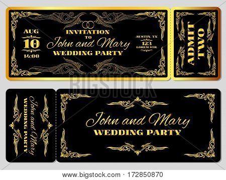 Wedding party invitation template in golden black. Banner with golden elegant frame illustration