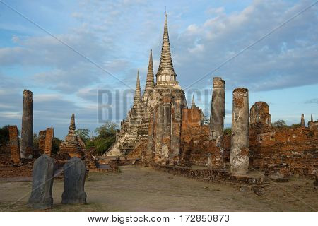 Morning on the ruins of the Buddhist temple of Wat Phra Si Sanphet. Ayutthaya. Thailand