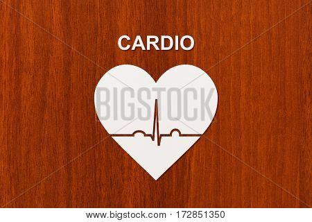 Heart shape with echocardiogram and CARDIO text . Sport or cardiology concept. Abstract conceptual image