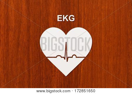 Heart shape with echocardiogram and EKG text. Health or cardiology concept. Abstract conceptual image