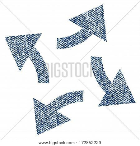 Centrifugal Arrows vector textured icon for overlay watermark stamps. Blue jeans fabric vectorized texture. Symbol with scratched design. Blue ink rubber seal stamp with fiber textile structure.