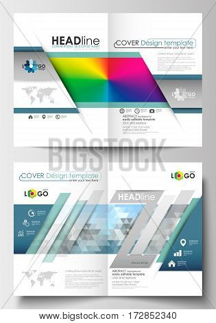 Business templates for brochure, magazine, flyer, booklet or annual report. Cover design template, easy editable blank, abstract flat layout in A4 size. Abstract triangles, blue triangular background, modern colorful polygonal vector.