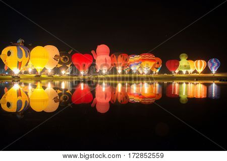 Chiang Rai, Thailand - February 14 2017: Singha Park Chiang Rai Balloon Fiesta 2017. Light and Sound festival show in the night time.