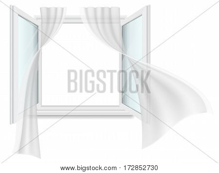 Open window and fluttering curtains. Vector detailed illustration. Isolated on white background.