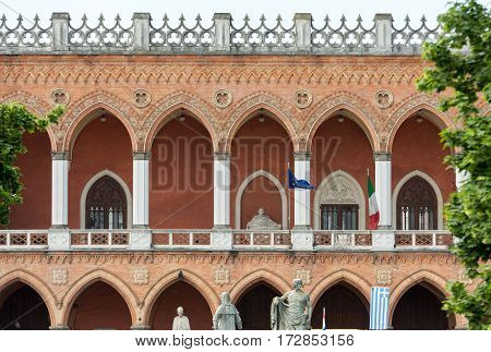 PADUA ITALY - MAY 3 2016: Lodge Amulea in the Great piazza of Prato della Valle also known as Ca' Duodo Palazzo Zacco in Padua Italy
