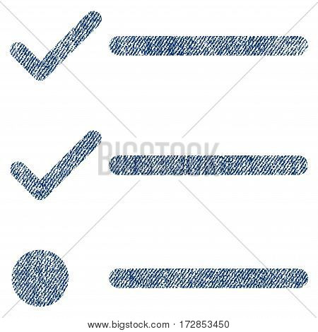 Checklist vector textured icon for overlay watermark stamps. Blue jeans fabric vectorized texture. Symbol with dirty design. Blue ink rubber seal stamp with fiber textile structure.