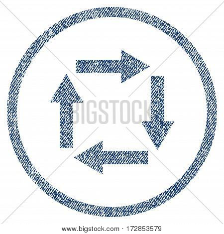 Circulation Arrows vector textured icon for overlay watermark stamps. Blue jeans fabric vectorized texture. Symbol with dirty design. Blue ink rubber seal stamp with fiber textile structure.