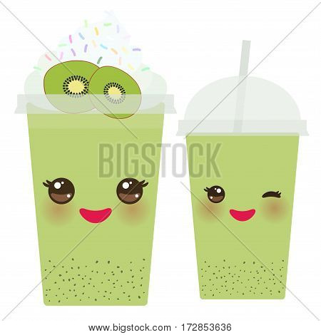 Kiwi Take-out smoothie transparent plastic cup with straw and whipped cream. Kawaii cute face with eyes and smile Isolated on white background. Vector illustration