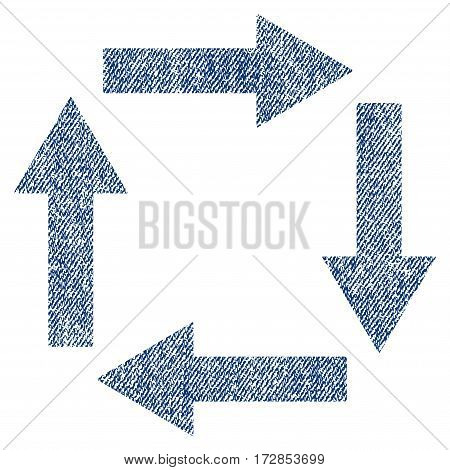 Circulation Arrows vector textured icon for overlay watermark stamps. Blue jeans fabric vectorized texture. Symbol with scratched design. Blue ink rubber seal stamp with fiber textile structure.