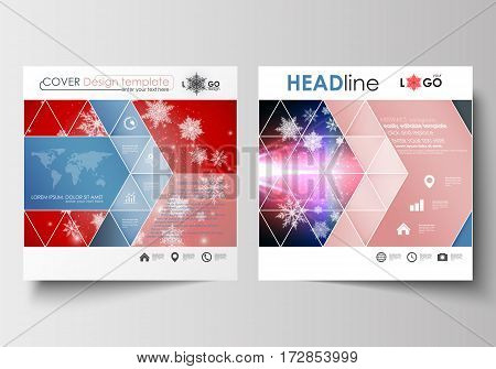 Business templates for square design brochure, magazine, flyer, booklet or annual report. Leaflet cover, abstract flat layout, easy editable blank. Christmas decoration, vector background with shiny snowflakes