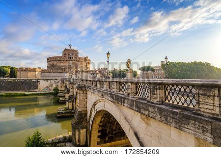 Castel Sant Angelo and Tiber river, Rome, Italy