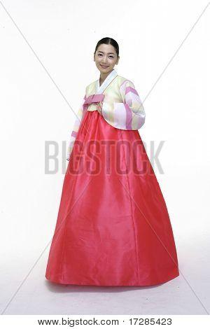 Woman in Korean Traditional Dress