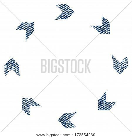Circulation vector textured icon for overlay watermark stamps. Blue jeans fabric vectorized texture. Symbol with dirty design. Blue ink rubber seal stamp with fiber textile structure.
