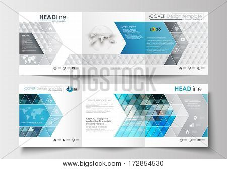 Set of business templates for tri-fold brochures. Square design. Leaflet cover, abstract flat layout, easy editable blank. Abstract triangles, blue and gray triangular background, modern polygonal vector