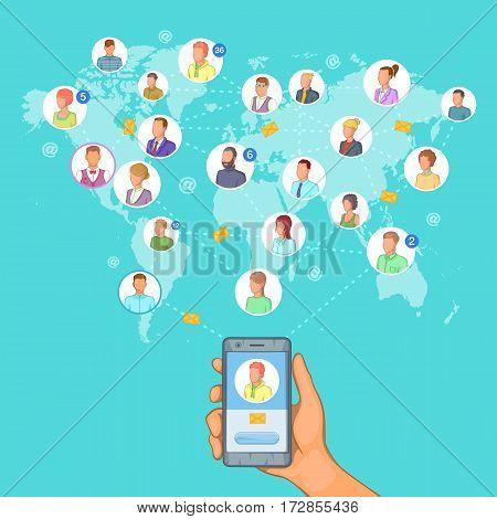 Social network concept cellphone set. Cartoon illustration of social network vector concept for web