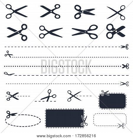 scissors icon set in vector, discount coupons and cut lines