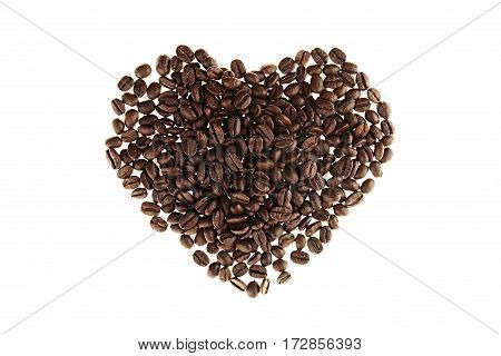 Heart of heap roasted coffee beans isolated on white background.