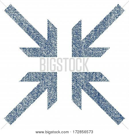 Collide Arrows vector textured icon for overlay watermark stamps. Blue jeans fabric vectorized texture. Symbol with dust design. Blue ink rubber seal stamp with fiber textile structure.