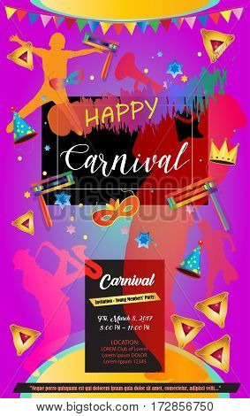 Happy Purim Carnival, Festival, Masquerade Music poster, invitation Holiday Kids party poster design. Children Event, banners with traditional hamantaschen cookies, toy grogger noisemaker, confetti, carnival mask, crown