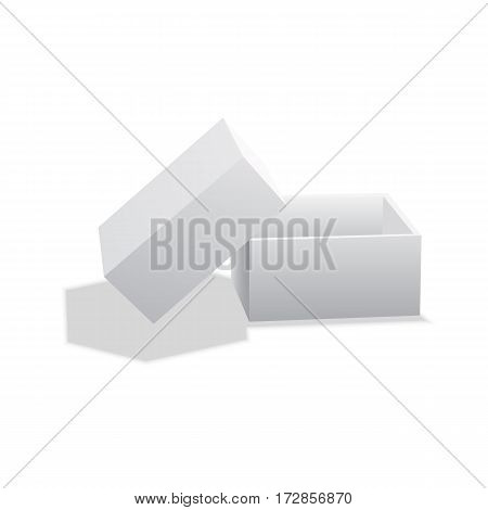 Realistic White Package Cardboard Box. For Software electronic device and other products. Vector illustration.