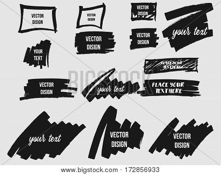 Set of Black Grunge Frames, Shapes. Vector illustration. Hand Drawn Ink Square Collection.