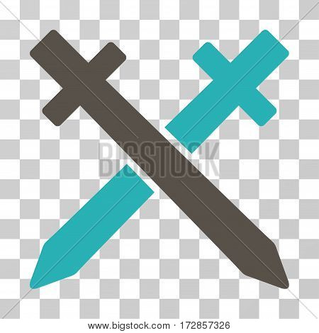 Crossing Swords vector icon. Illustration style is flat iconic bicolor grey and cyan symbol on a transparent background.
