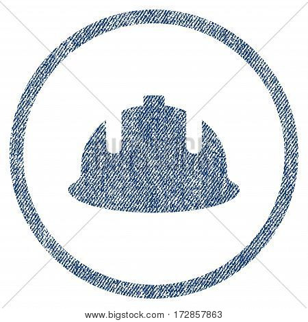 Construction Helmet vector textured icon for overlay watermark stamps. Blue jeans fabric vectorized texture. Symbol with dust design. Blue ink rubber seal stamp with fiber textile structure.