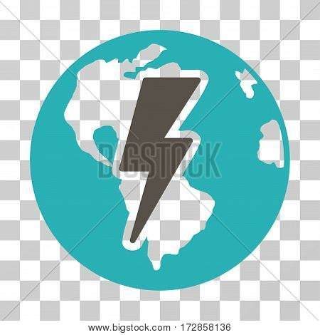 Earth Shock vector pictogram. Illustration style is flat iconic bicolor grey and cyan symbol on a transparent background.