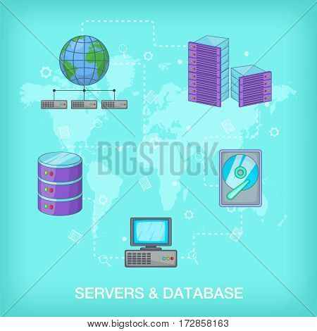 Data base concept global. Cartoon illustration of data base vector concept for web