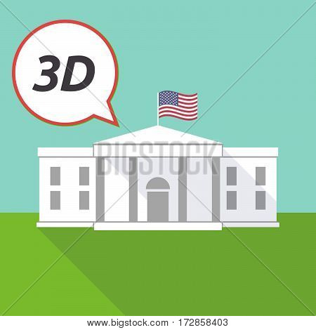 The White House With    The Text 3D