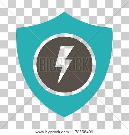 Electric Guard vector pictogram. Illustration style is flat iconic bicolor grey and cyan symbol on a transparent background.